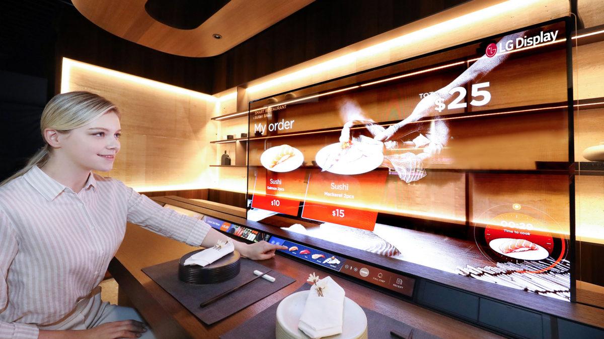 restaurante display oled transparente lg