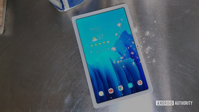 Samsung Galaxy Tab A7 2020 Tablet on Kitchen Counter with Flour