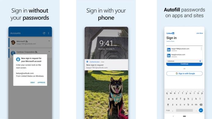 Captura de tela 2021 do Microsoft Authenticator