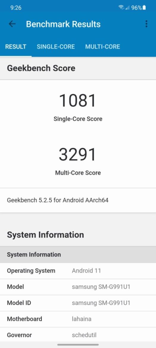 Samsung Galaxy S21 Benchmark Geekbench