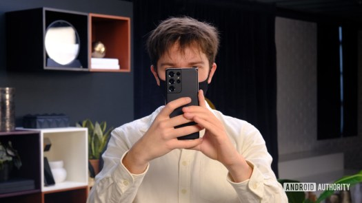 Samsung Galaxy S21 Ultra taking a photo