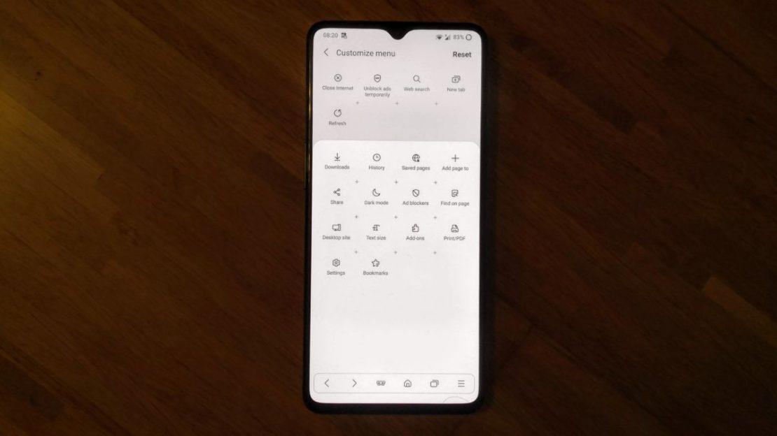 Samsung Internet Toolbar customize