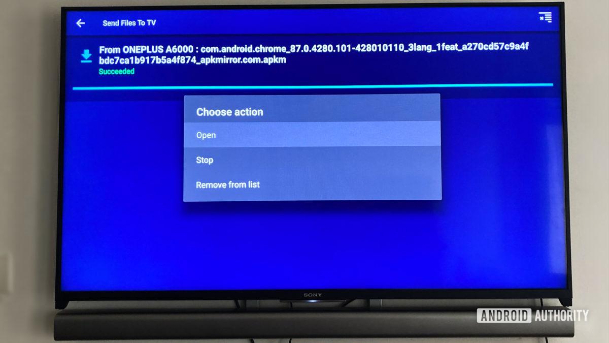 Отправка файлов в приложение для ТВ Установка APK на Android TV
