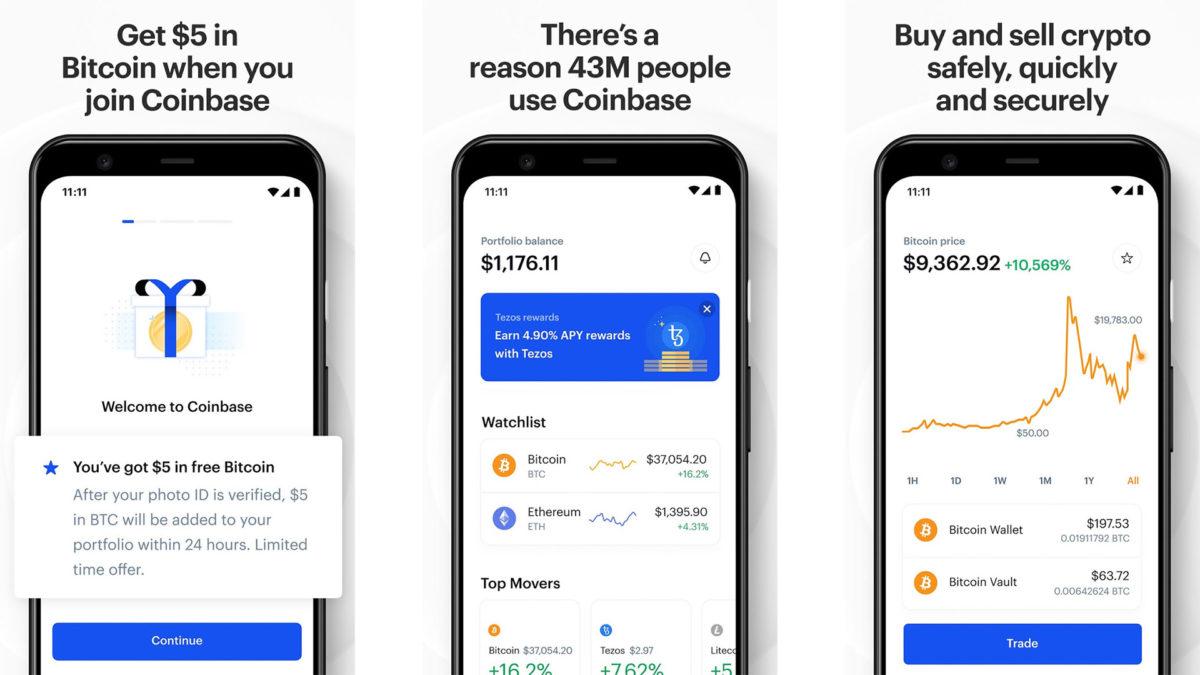 Captura de tela do Coinbase