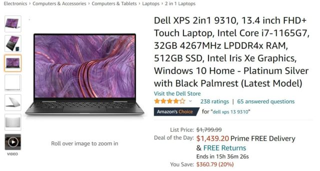 Dell XPS 2 in 1 9310 Laptop Amazon Deal