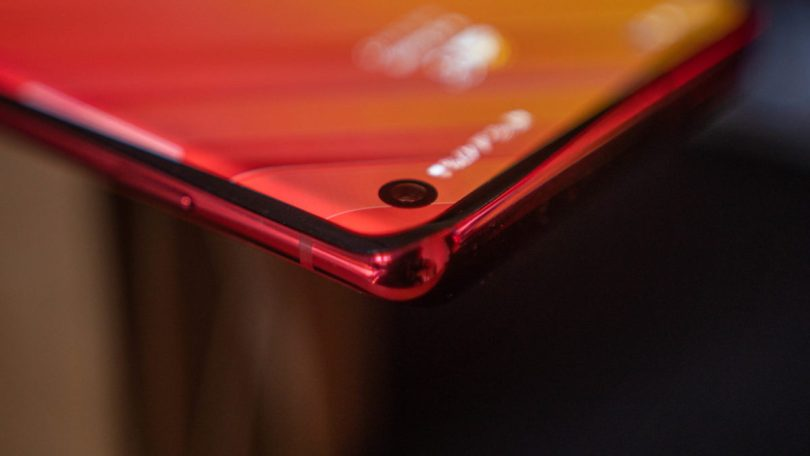 Samsung Galaxy S10 focus on punch hole and curved edges