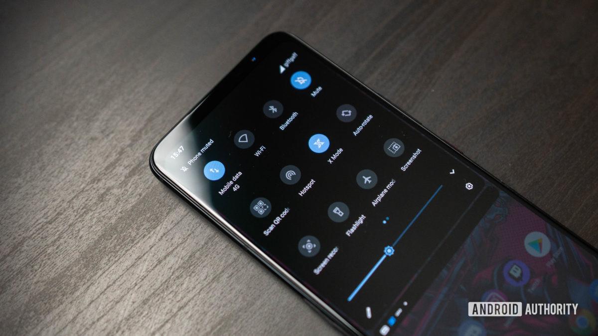 Asus ROG Phone 5: снимок панели быстрых настроек