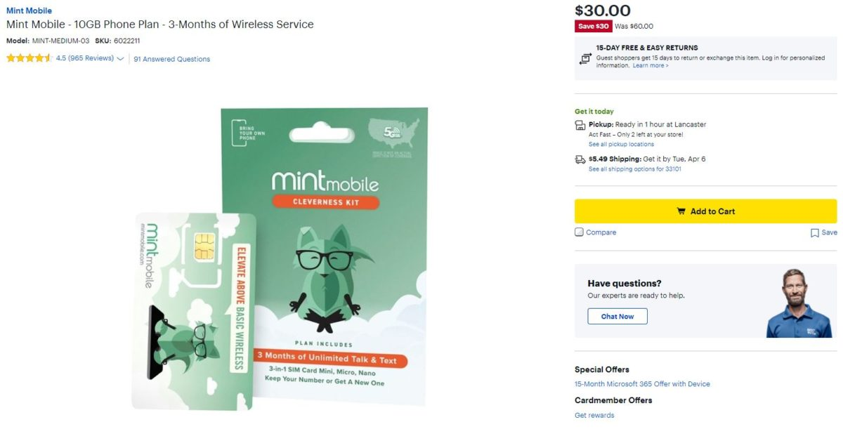 Mint Mobile 10GB Plan Best Buy Deal