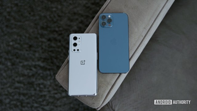 OnePlus 9 Pro vs iPhone 12 Pro Max on couch arm