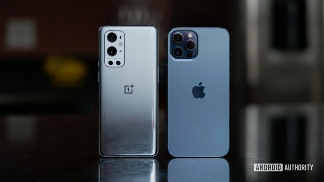 OnePlus 9 Pro vs iPhone 12 Pro Max on countertop