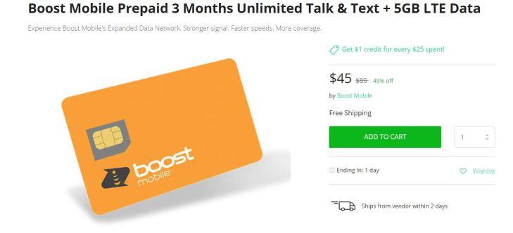 Boost Mobile Prepaid Three Months Unlimited Talk Text 5GB LTE Data Deal