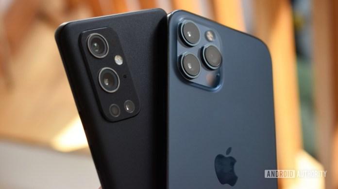 OnePlus 9 Pro vs Apple iPhone 12 Pro Max backs