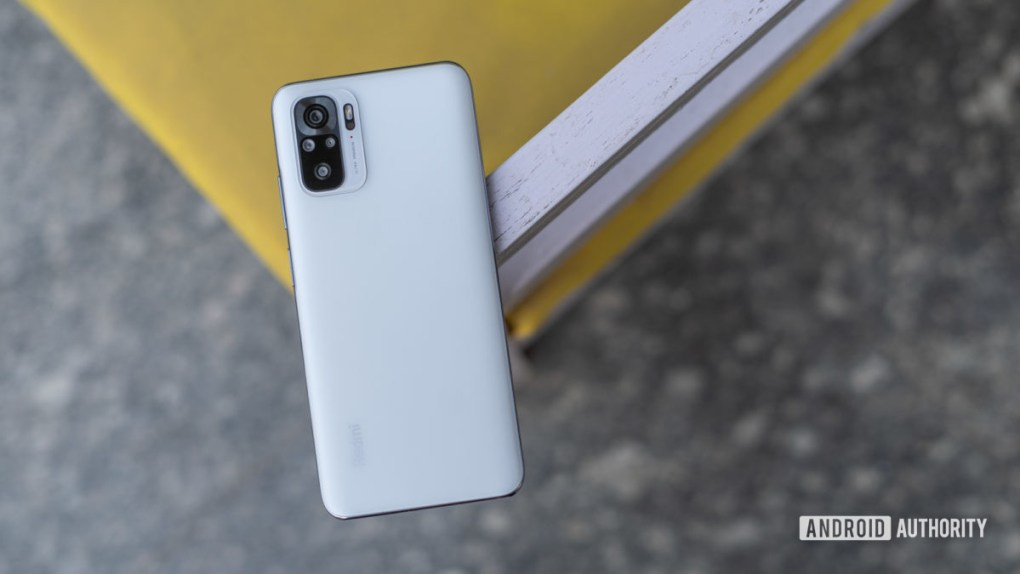 Redmi Note 10 top down shot showing rear panel