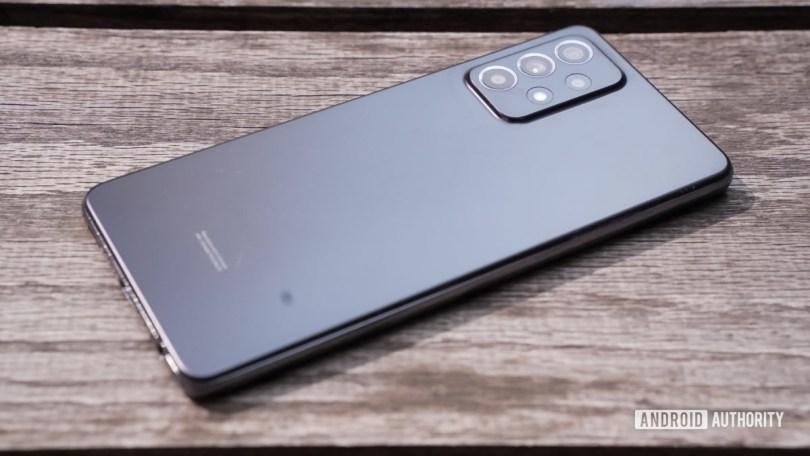 Samsung Galaxy A 52 5G angled on table