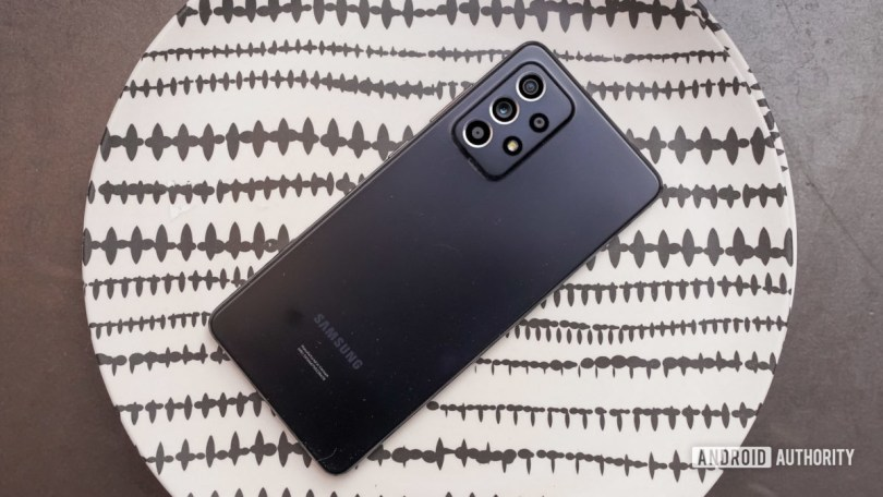 Samsung Galaxy A 52 5G on plate