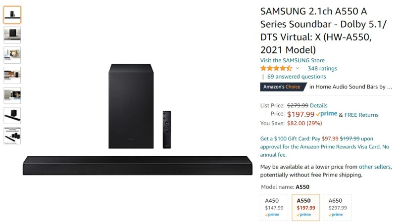 Samsung HW A550 sound bar Widget Image