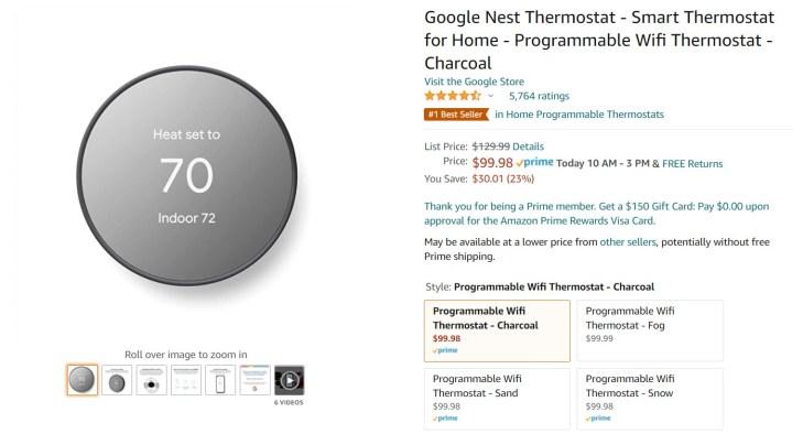 Google Nest Thermostat Amazon Deal