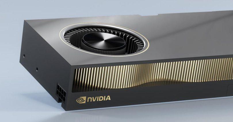 Nvidia RTX A6000 GPU on a white/gray background