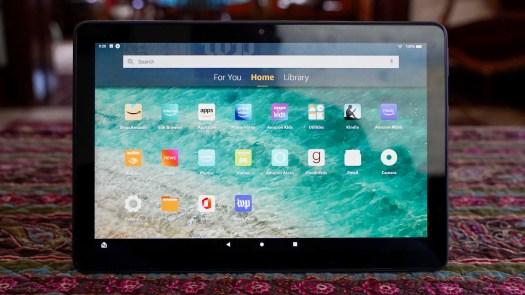 Amazon Fire HD 10 Plus on coffee table