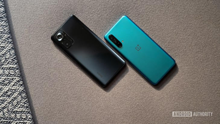 OnePlus Nord CE vs Redmi Note 10 Pro showing rear panels