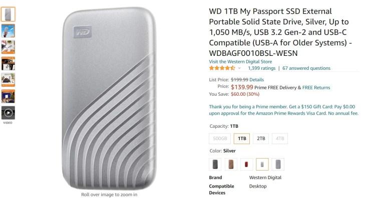 WD 1TB My Passport External Portable SSD Amazon Deal 1