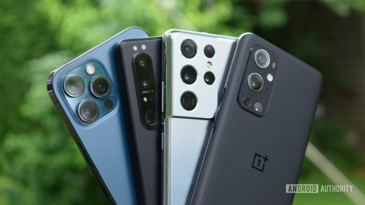 Samsung Galaxy S21 Ultra, Sony Xperia 1 III, OnePlus 9 Pro, and iPhone 12 Pro Max side by side