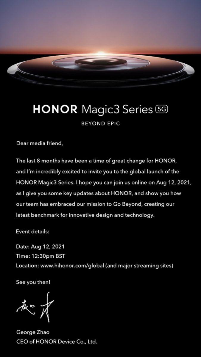 Honor Magic 3 launch invite