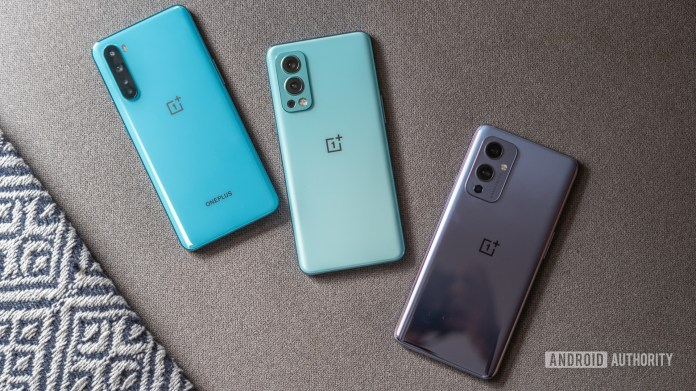 OnePlus Nord 2 with OnePlus Nord and OnePlus 9