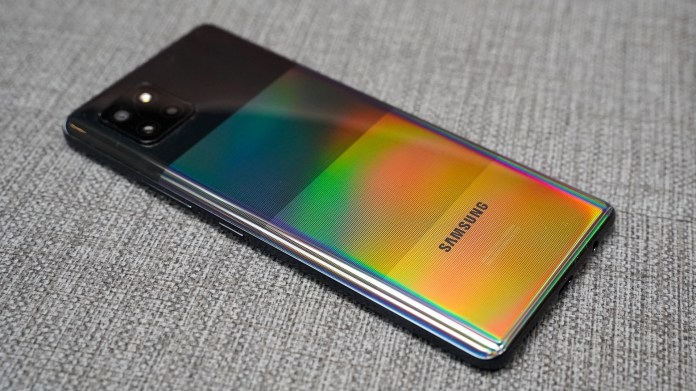 Samsung Galaxy A42 left rear profile