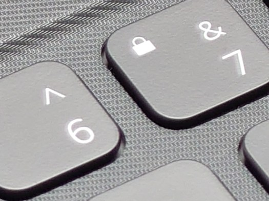 Sony Xperia 1 III camera 70mm zoom crop of a keyboard showing the number 6 and 7 keys.