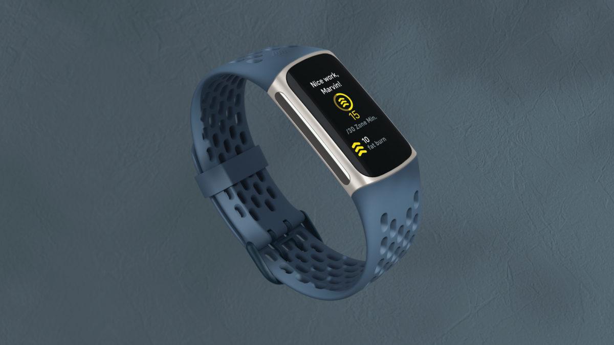 fitbit charge 5 минут активной зоны Steel Blue Platinum