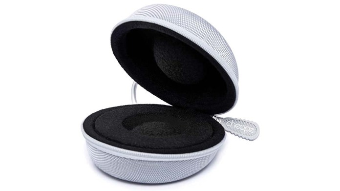 Product shot of a Cheopz travel watch case in silver.