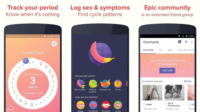 Screenshots of the Eve period tracker app highlight the apps emphasis on sexual health.