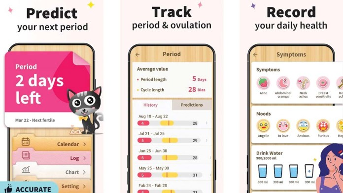 Screenshots of the Period Tracker Period Calendar app on the Google Play store show the apps simple but playful design style.