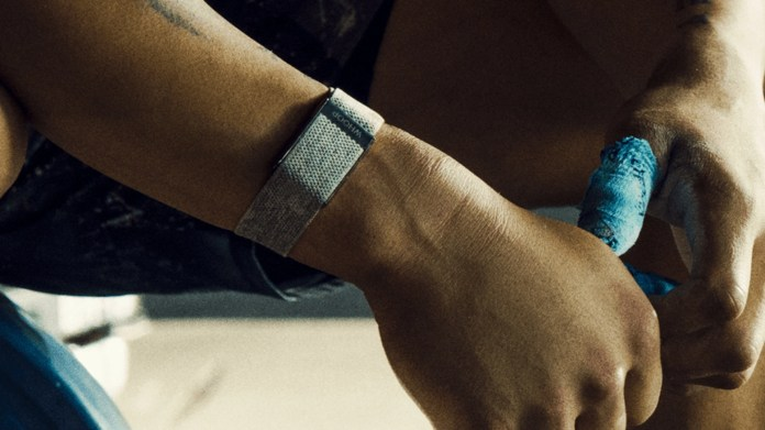The Whoop 4.0 fitness tracker in band form.