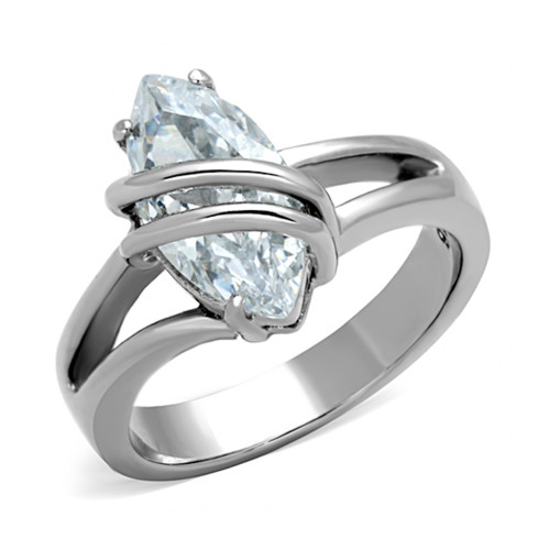 Steel Entangle Wire CZ Stone Ring Stainless Steel