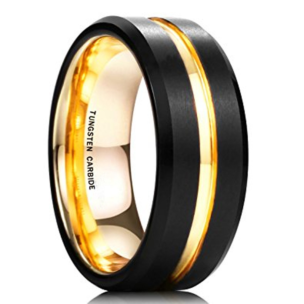 8mm Unisex Or Mens Tungsten Wedding Band Black And 18K