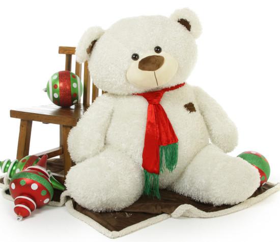 A Big 52 Inch Giant White Christmas Teddy Bear Makes