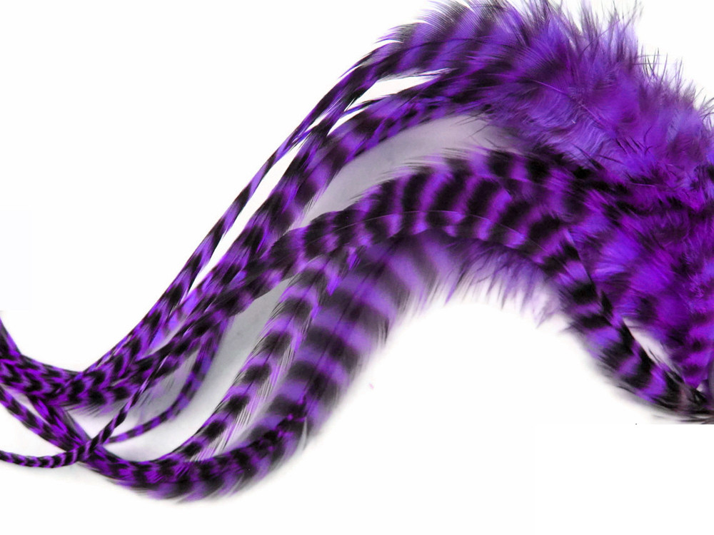 6 Pieces Purple Grizzly Rooster Hair Feathers Moonlight