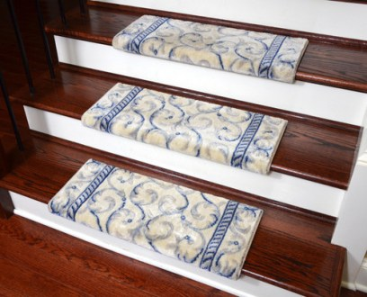 Dean Non Slip Tape Free Pet Friendly Stair Gripper Bullnose Carpet     Dean Non Slip Tape Free Pet Friendly Stair Gripper Bullnose Carpet Stair  Treads   Ivory Blue Scrollwork Scrollwork 27 W  3