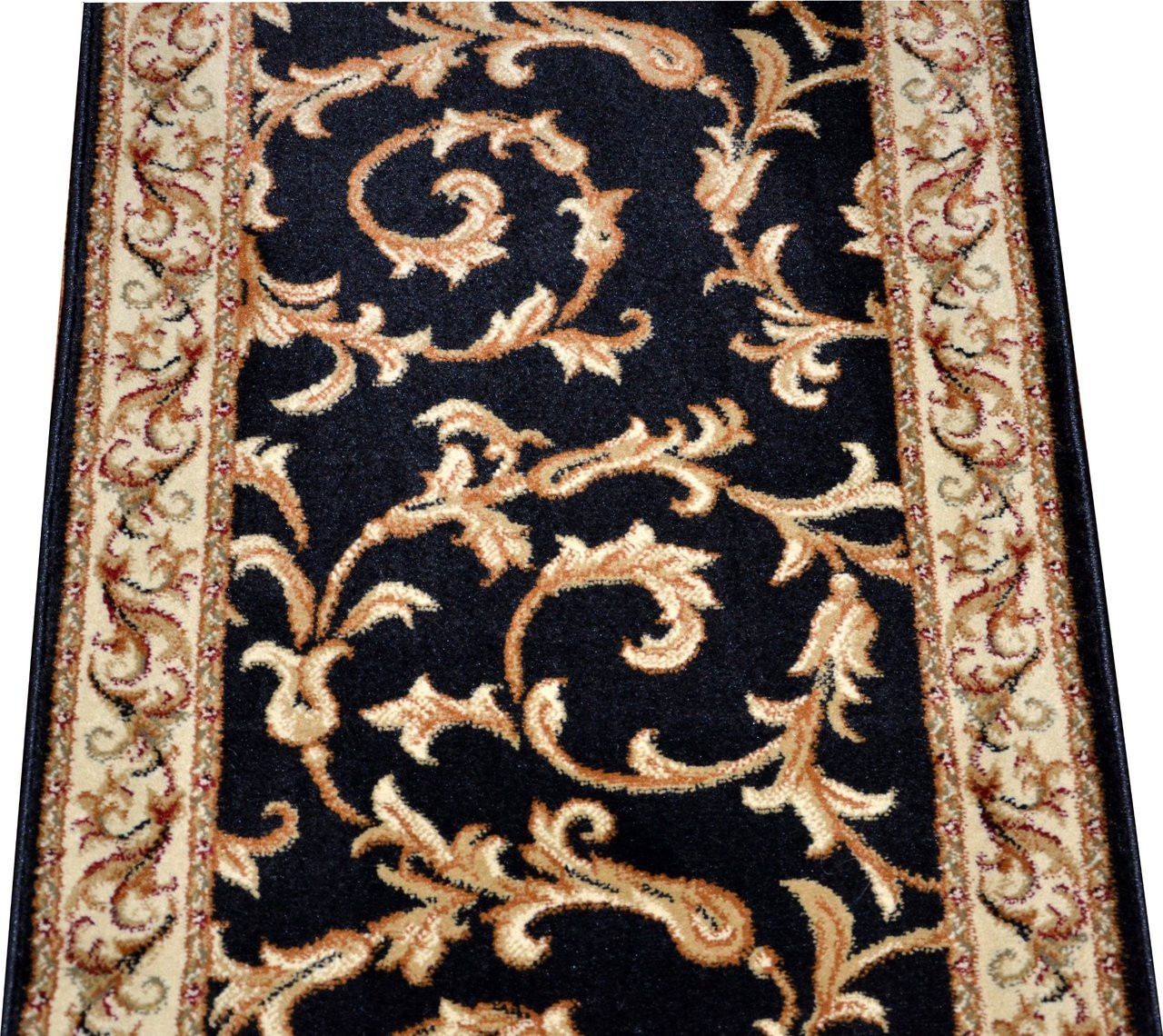 Dean Black Scrollworks Custom Length Carpet Rug Hallway | Hallway Carpet Runners By The Foot
