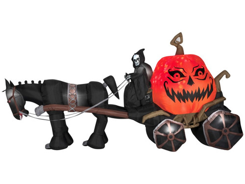 Inflatable Airblown Reaper With Carriage Pumpkin