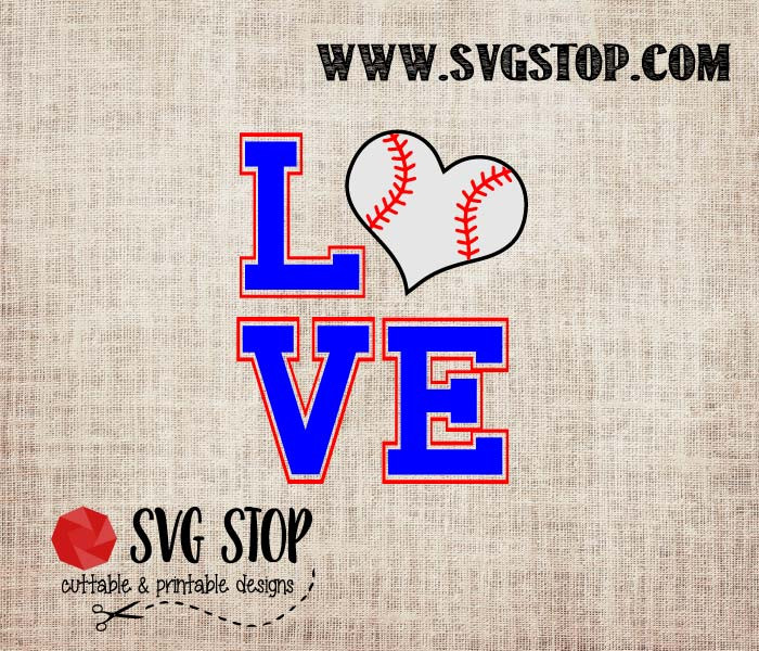 Download Love Baseball Heart Cut File | The SVG Stop