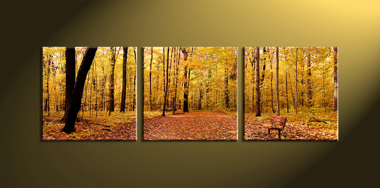 Triptych Yellow Canvas Trees Scenery Artwork