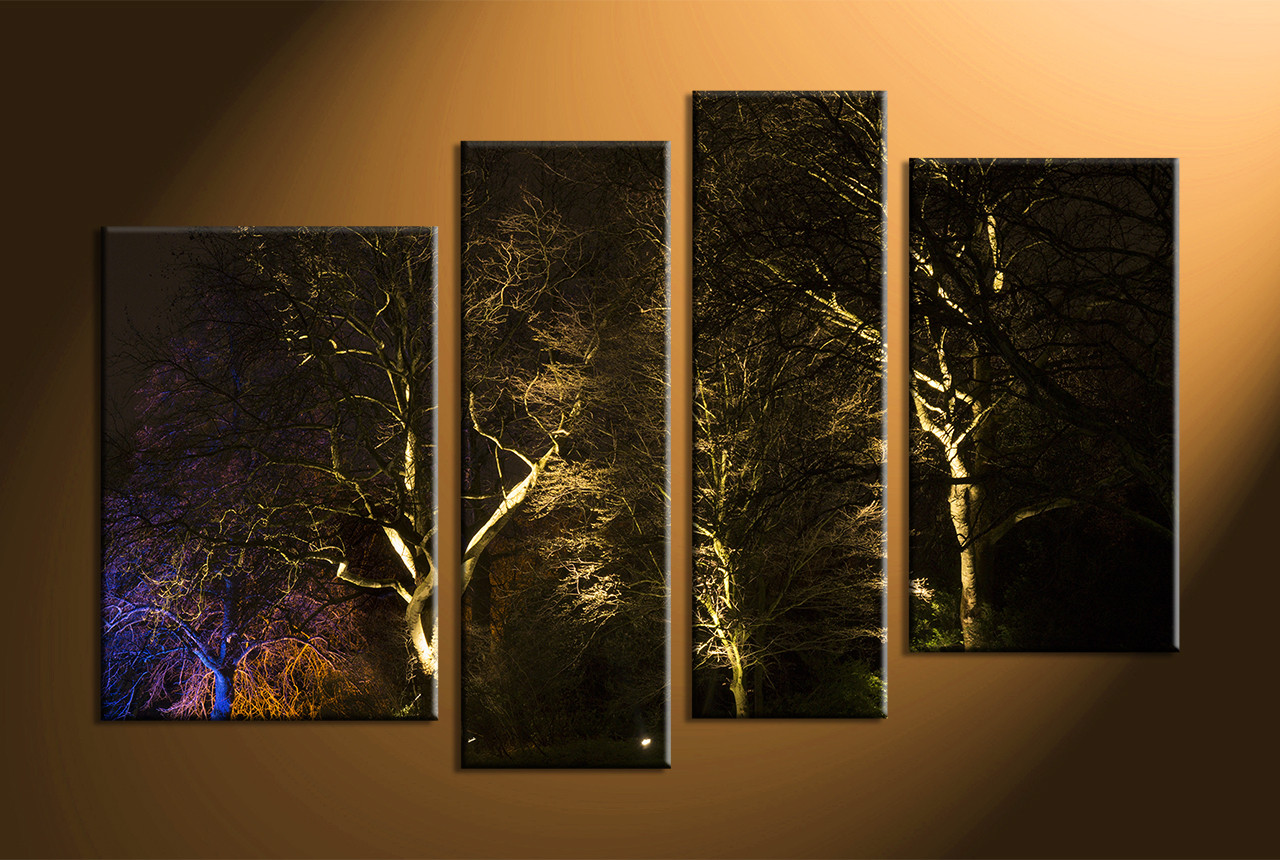 4 Piece Trees Scenery Black Multi Panel Art