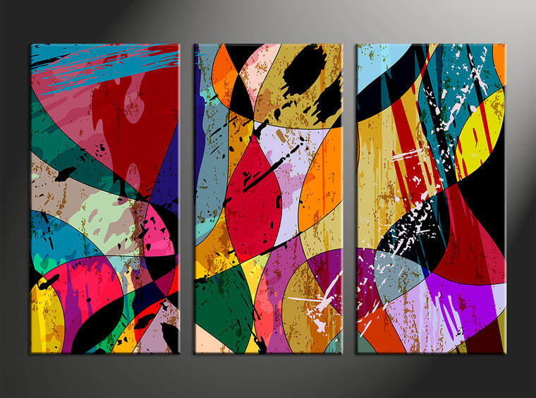 3 Piece Colorful Home Decor Abstract Huge Canvas Art