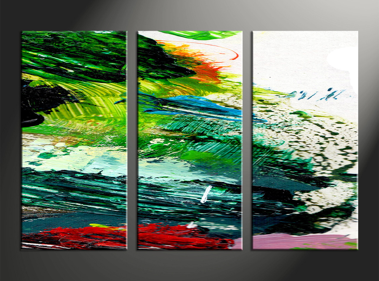 3 Piece Canvas Green Abstract Oil Paintings Pictures