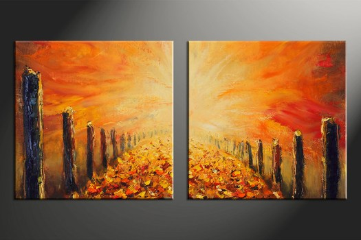 2 Piece Wall Art Home Decor Modern Artwork Oil Paintings Pictures Orange