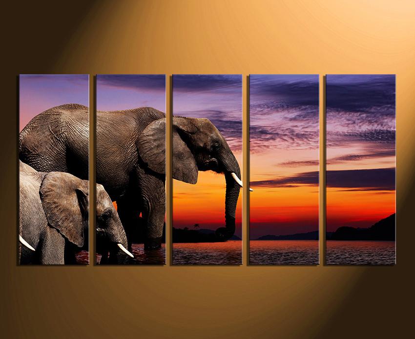 5 Piece Multi Panel Canvas, Elephant Wall Art, Animal Huge