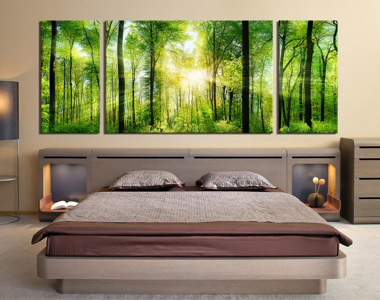 3 Piece Wall Decor, Panoramic Huge Canvas Print, Sunshine